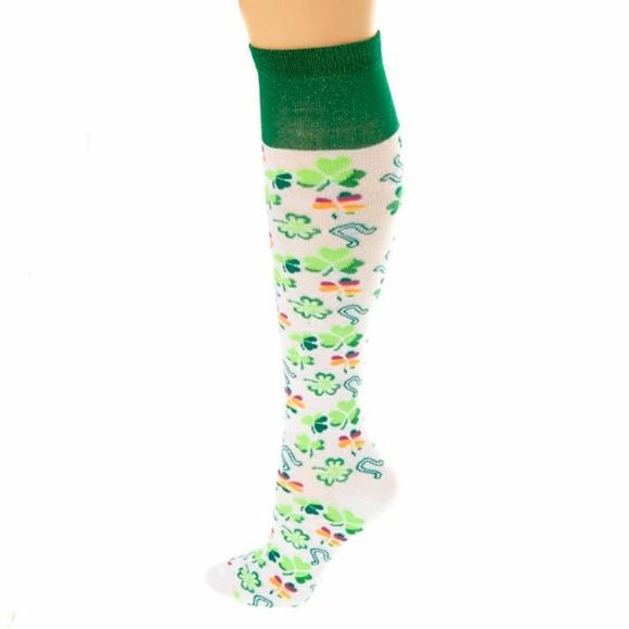 842f7b3b7 St. Patrick s Day Green and White Knee High Socks
